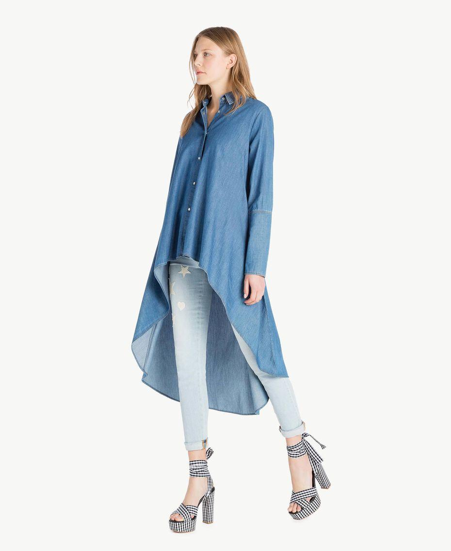 Maxi camicia denim Denim Blue Donna JS82U2-02