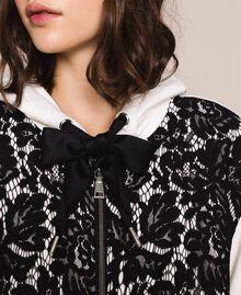 Maxi sweat-shirt avec dentelle Bicolore Lis/ Noir Femme 201MP2141-04