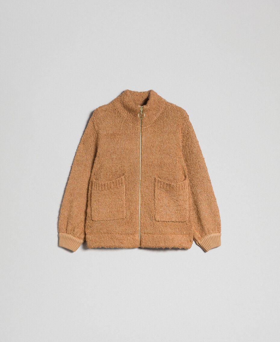 """Giacca in maglia bouclé Beige """"Camel Skin"""" Donna 192LI3KDD-0S"""