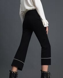 Flared trousers with pearl embroidery Black Woman 192TP2082-04