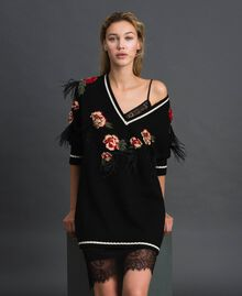 Maxi jumper with floral jacquard and embroidery Black Woman 192TP3321-01