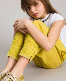 """Pantalon en voile de coton avec broderie Jaune """"Bambou"""" Enfant 191GJ2351-05"""