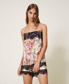 Pantalón corto de raso estampado con encaje Estampado Flor Grande Mujer 202LL2ELL-0T