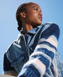 Blouson en jean avec franges Denim Clair Femme 202MP2463-01