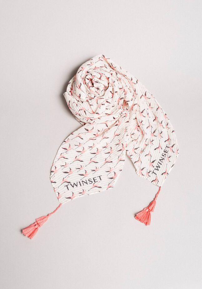 Plissiertes Kufiya mit Flamingo-Aufdruck