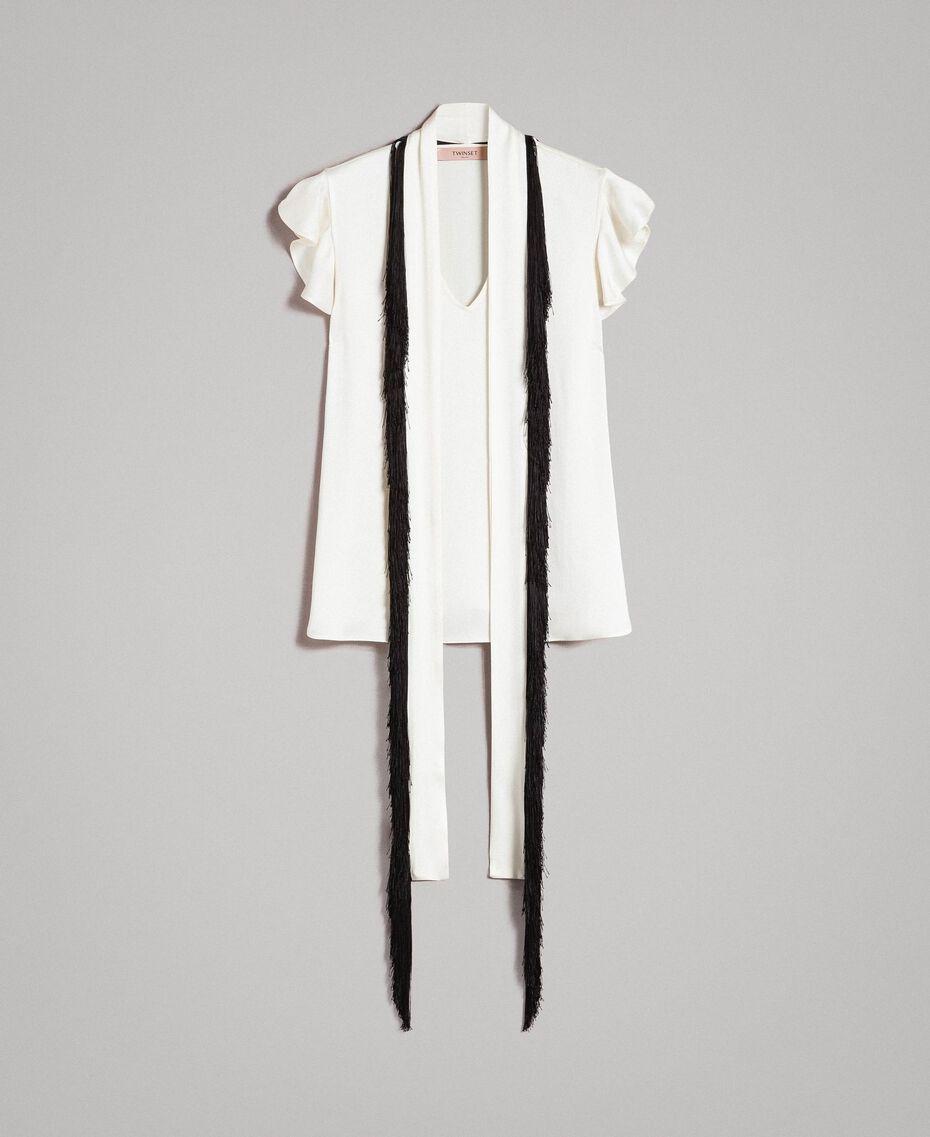 Bluse mit Gürtel mit Fransen Zweifarbig Schneeweiß / Schwarz Frau 191TT2384-0S