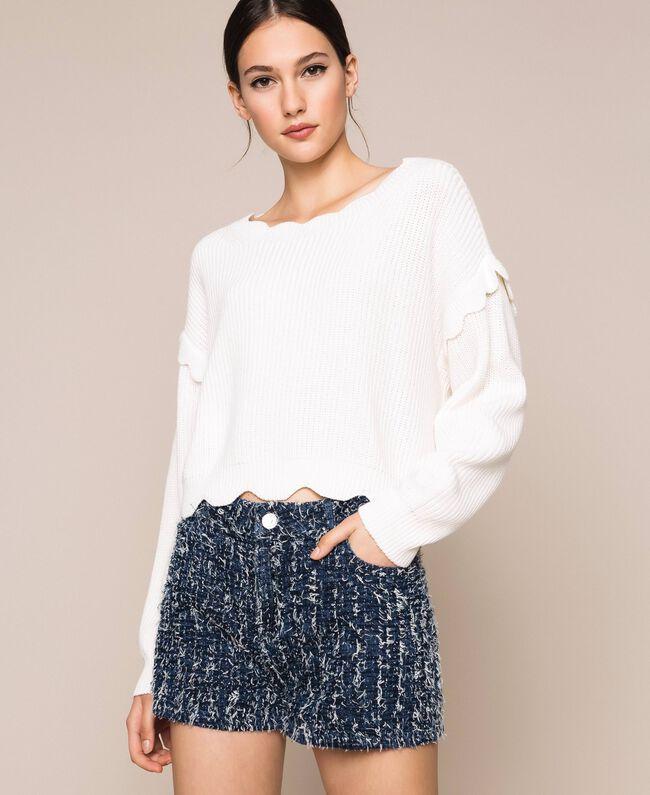 Пуловер квадратного кроя с фестонной отделкой Белый Снег женщина 201TP3021-05