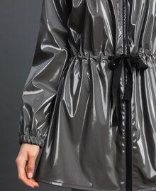 Vinyl effect parka coat with drawstring Lead Grey Woman 192LI2JCC-04