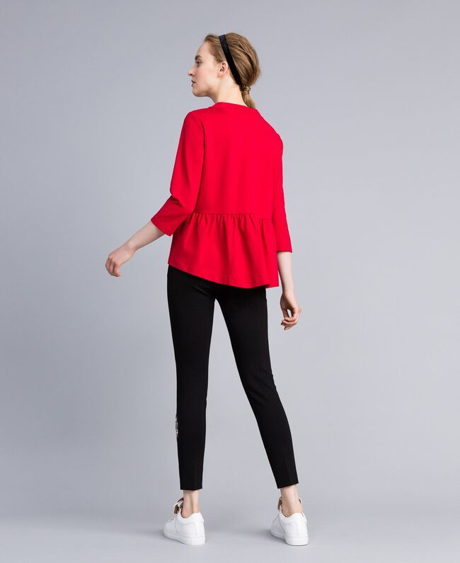 Milan stitch jumper with patch Venetian Red Woman PA821X-03