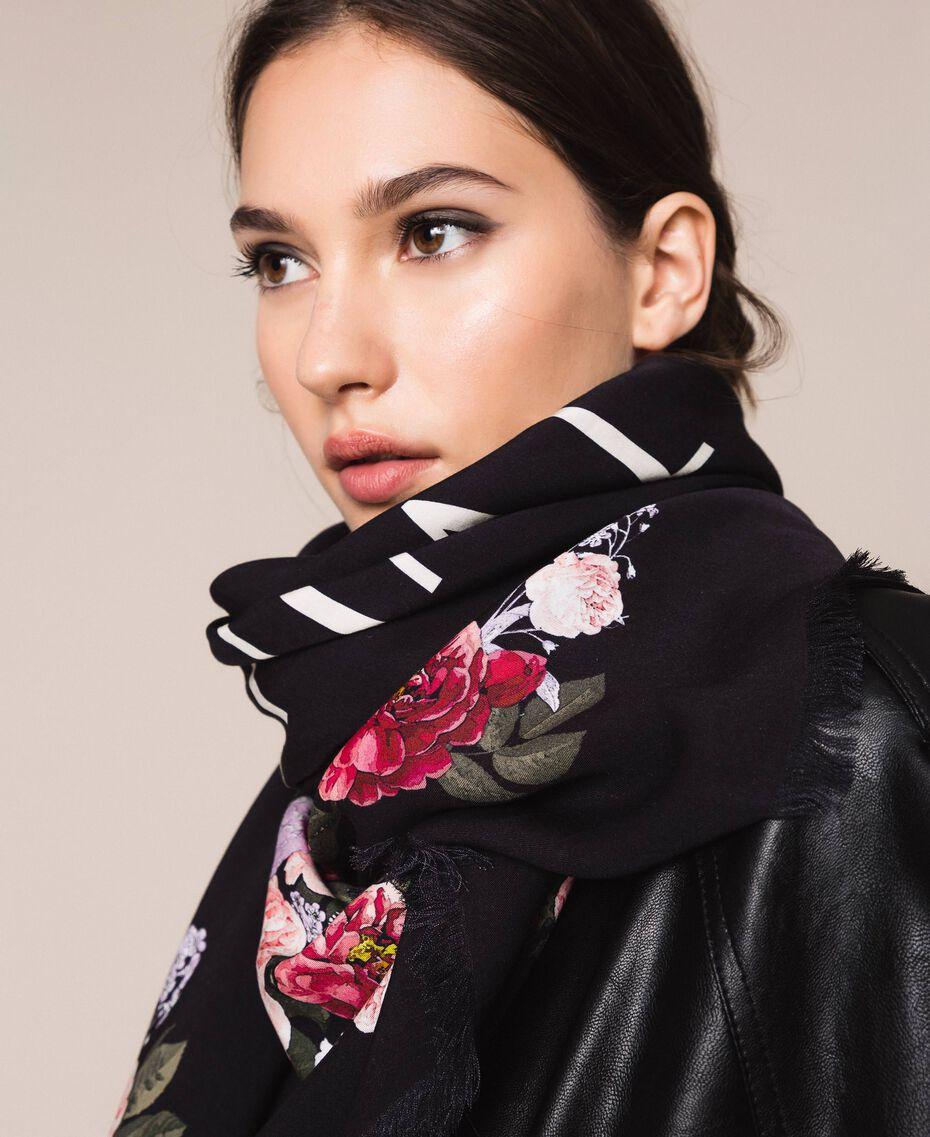 Keffieh avec imprimé floral Imprimé Fleurs Multicolore Noir Femme 201TA4367-0S