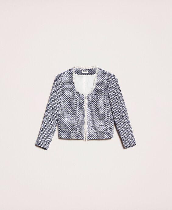 Bouclé jacket with fringe trim