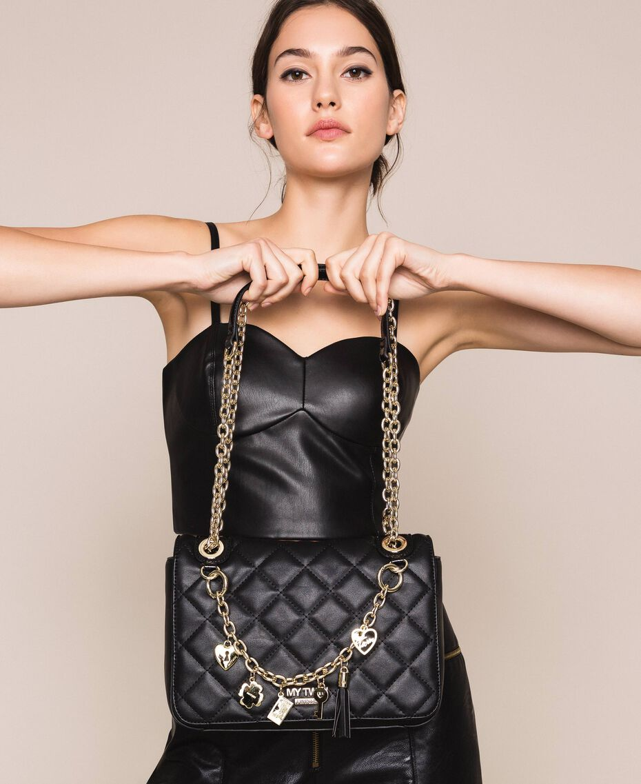Faux leather shoulder bag with charms Black Woman 201MA7043-0S
