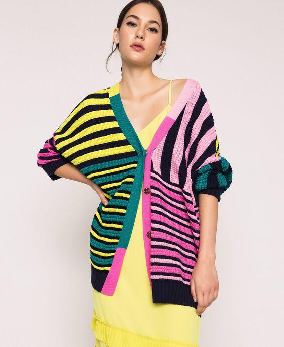 Maxi cardigan avec rayures multicolores