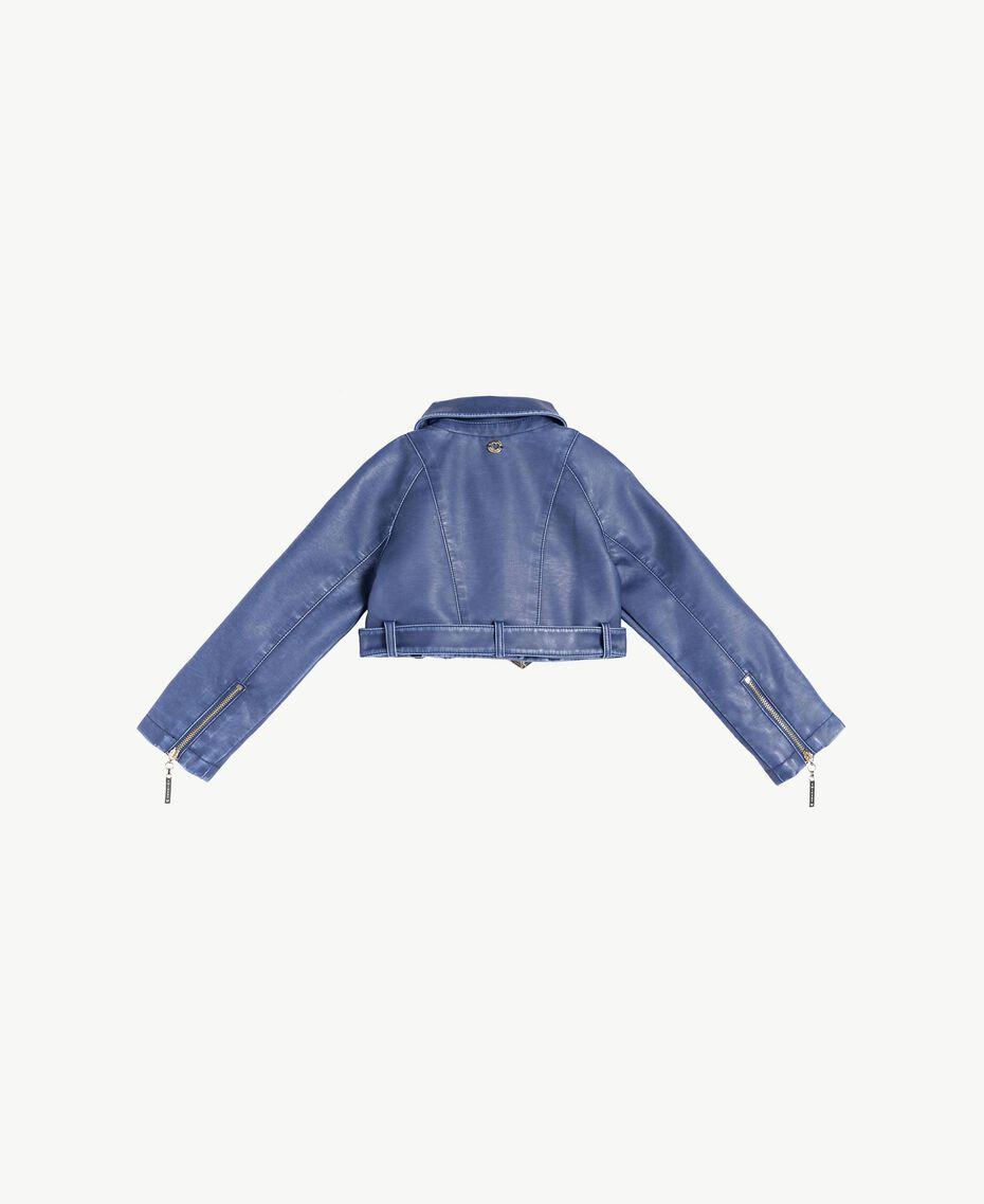 Faux leather biker jacket Ocean Blue Child FS82YA-02