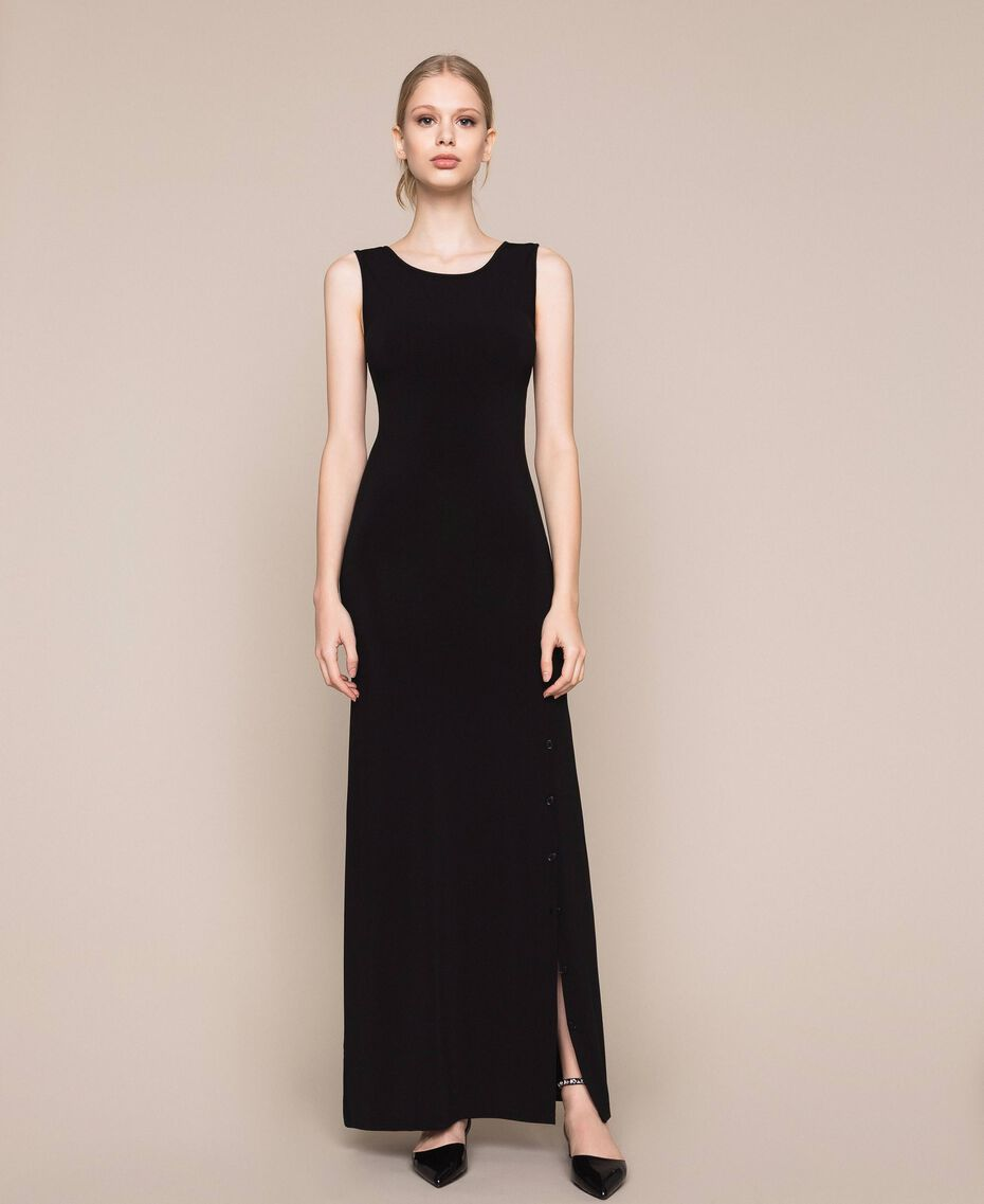 Long dress with slit Black Woman 201MT2152-01