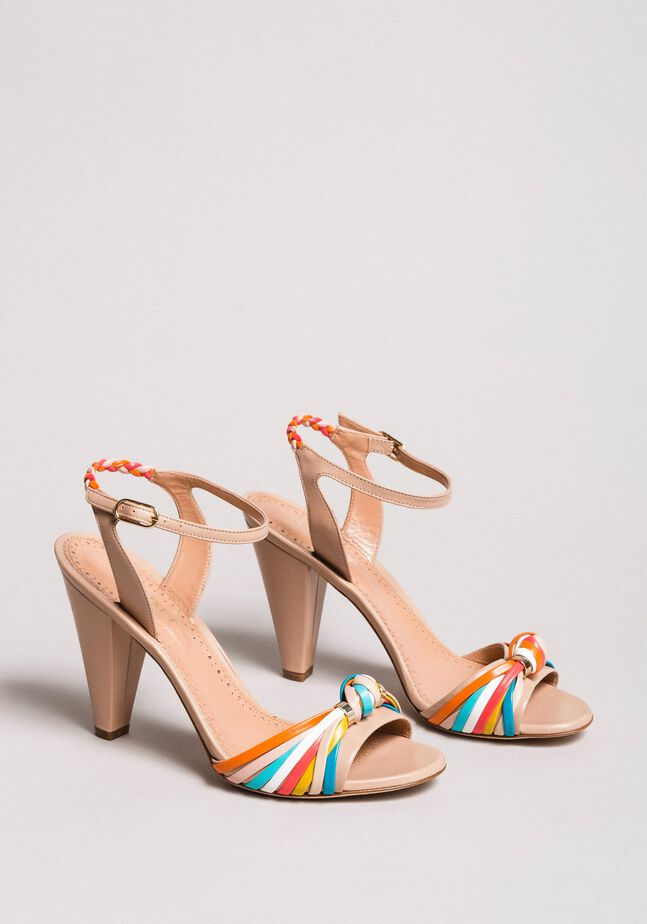 Sandali in pelle bicolore