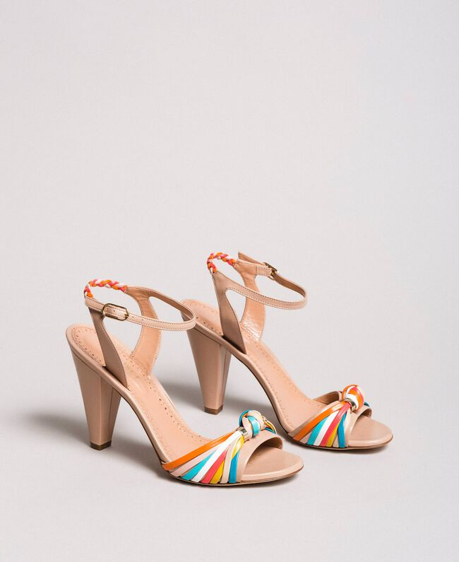 Zweifarbige Leder-Sandalen Nudebeige Frau 191TCT018-01