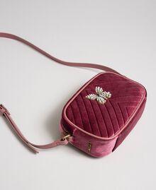 Sac à bandoulière en velours avec papillon Rose Poudre Femme 192TA7091-01