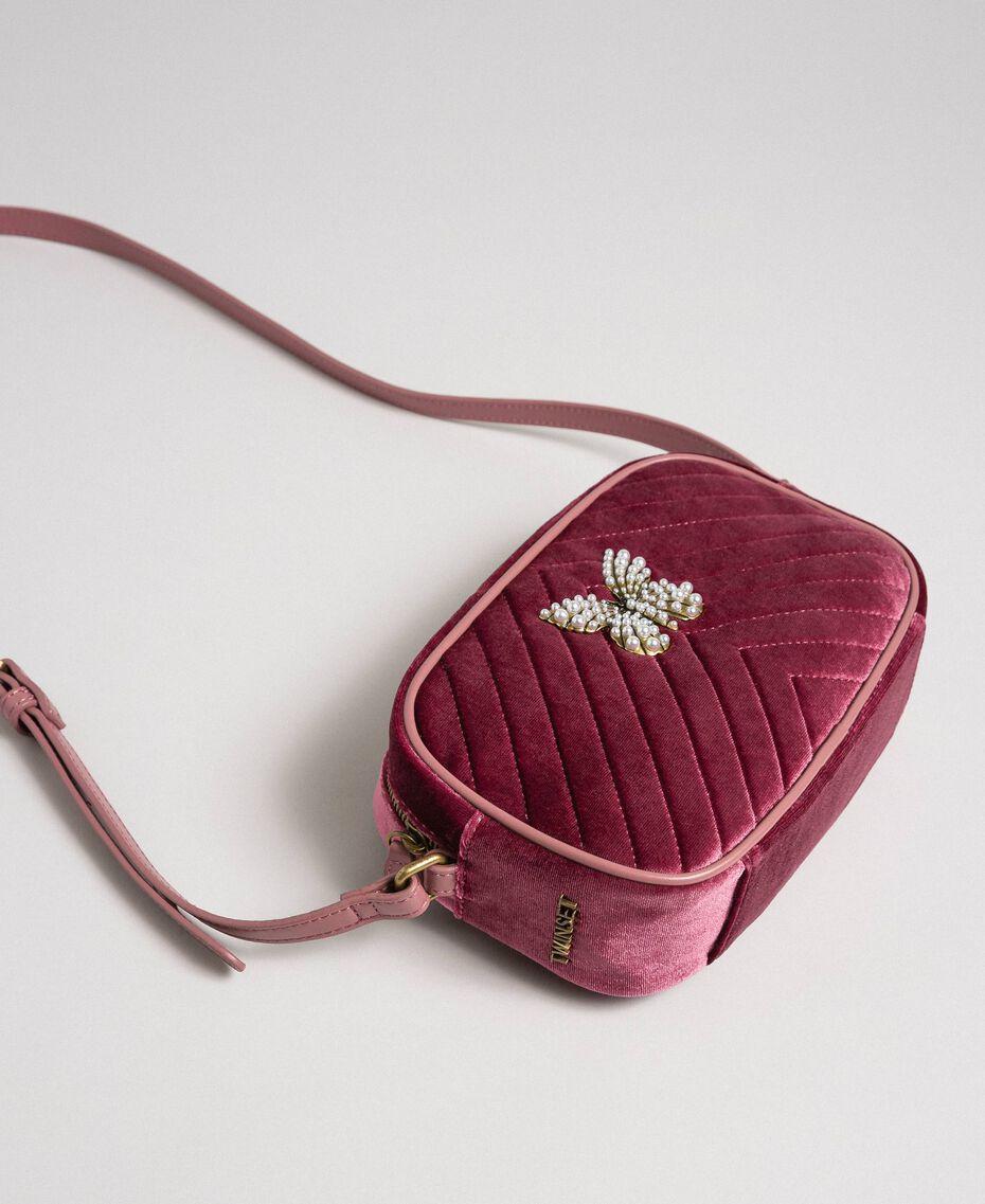 Velvet shoulder bag with butterfly Dark Green Woman 192TA7091-01