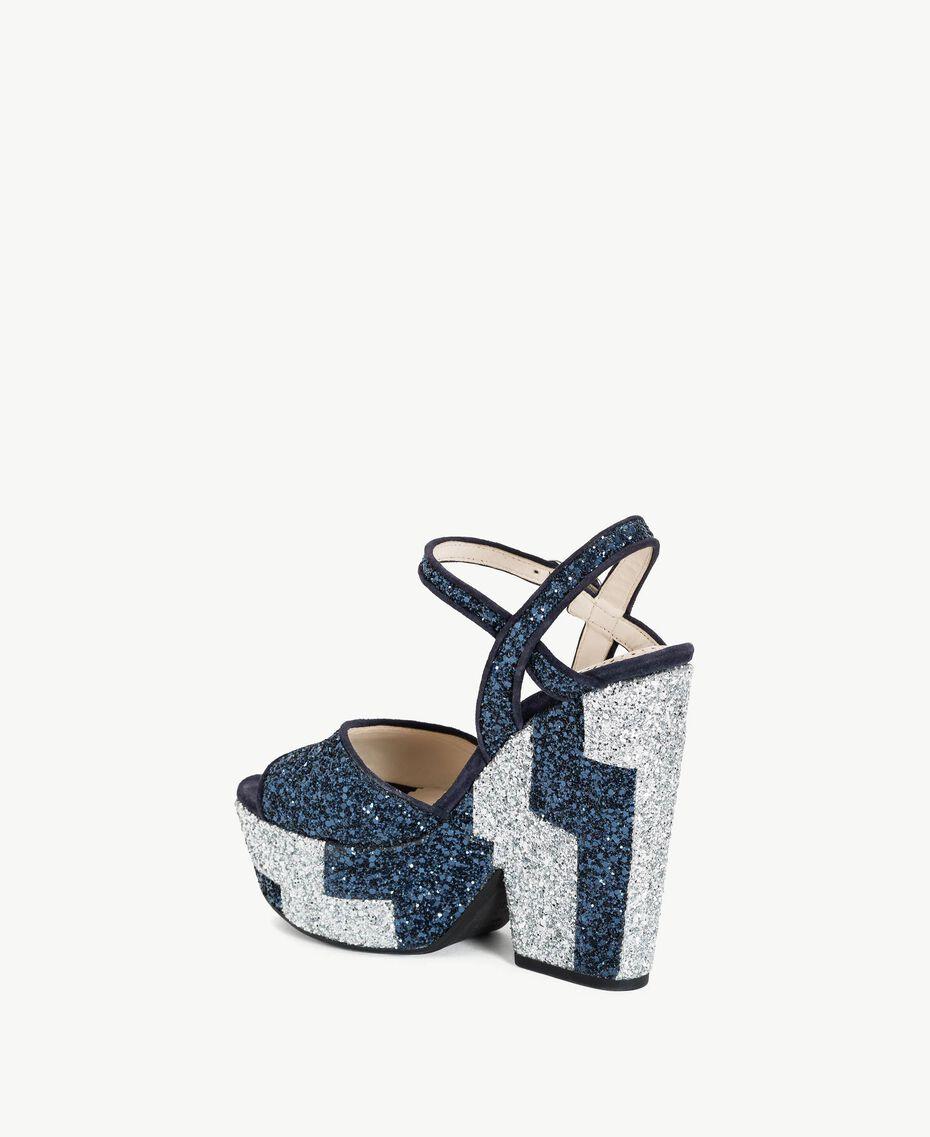 TWINSET Glitter sandals Two-tone Dark Blue / Glitter Silver Woman CS8PL1-03