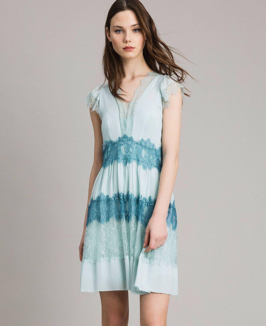"""Robe en georgette et dentelle Bicolore Bleu Clair Mikonos / Bleu Clair """"Aigue Marine"""" Femme 191TP2772-02"""