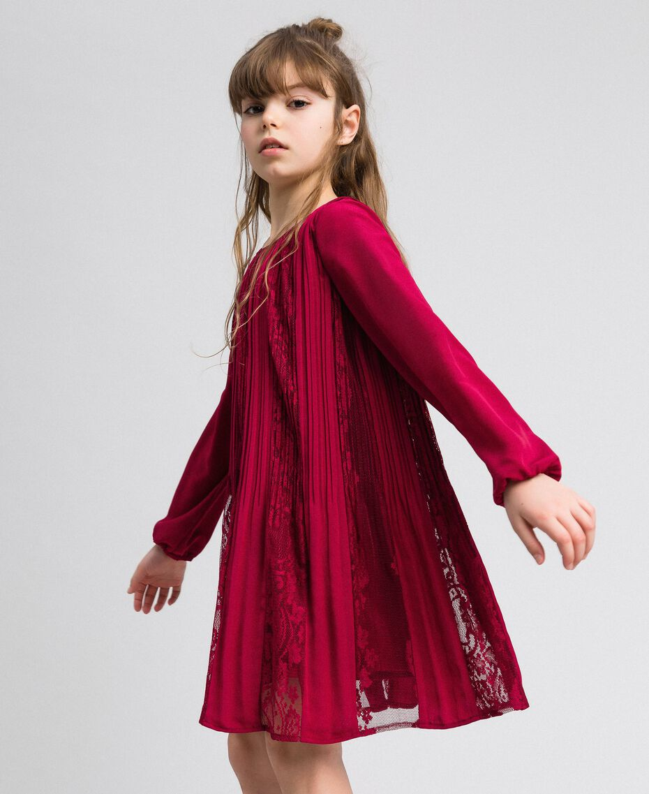 Pleated crêpe and lace dress Ruby Wine Red Child 192GJ2521-01