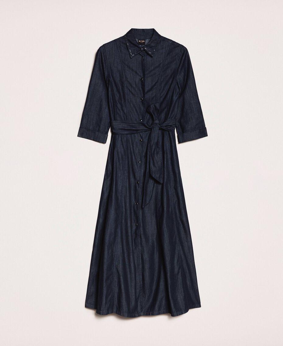 Длинное джинсовое платье-рубашка Синий Деним женщина 201MP2401-0S