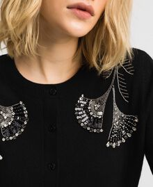 Wool and cashmere Mandarin collar top with floral embroidery Black Woman 192TP3330-04