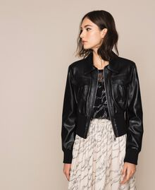 Faux leather jacket with waist band Black Woman 201MP2030-05
