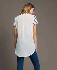 """Gestreiftes T-Shirt mit Pailletten Motiv """"Savannah"""" Beige / Cremeweiß Gestreift Frau 191ST2090-03"""