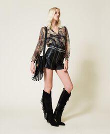Leather shoulder bag with fringes Black Woman 212TB7120-0T