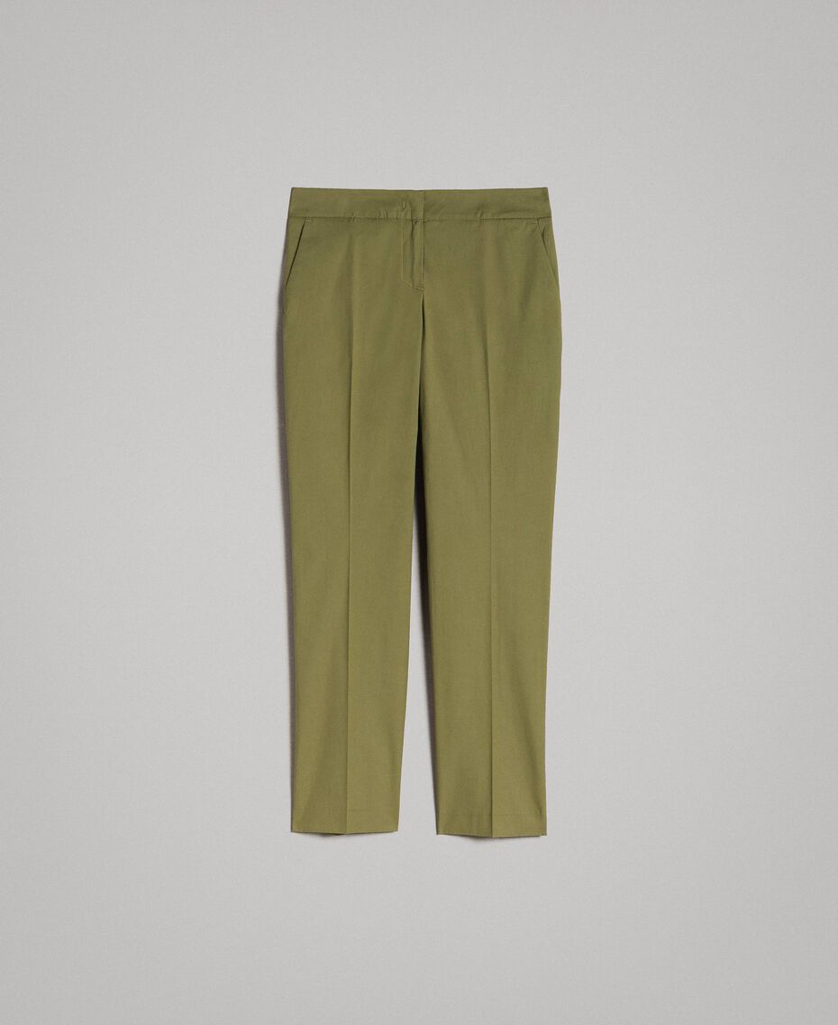 "Poplin drainpipe trousers ""Olive"" Green Woman 191TT2231-0S"