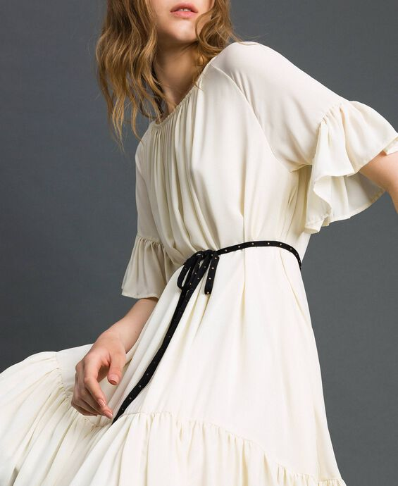 Crêpe de Chine dress with belt