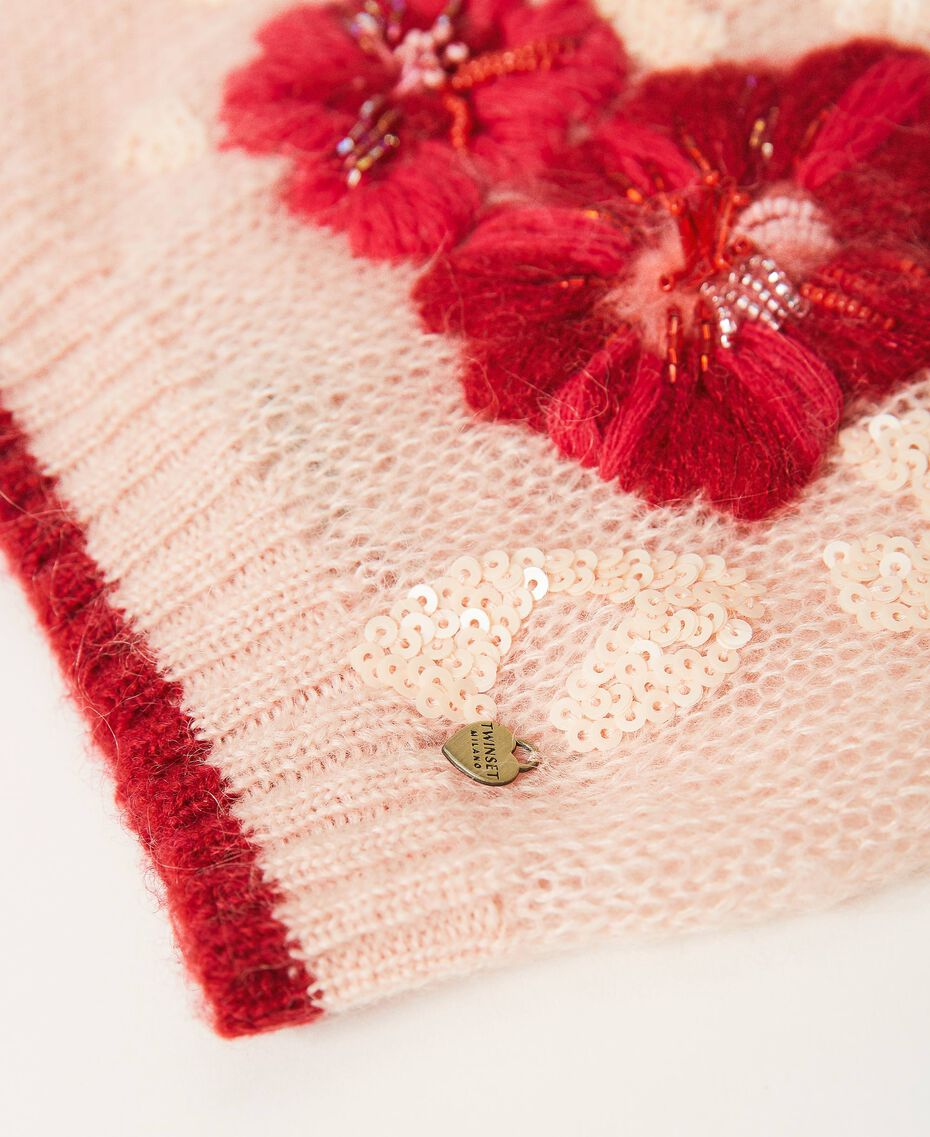 Knit beanie with flowers and sequins Peach Woman 202TA4410-02