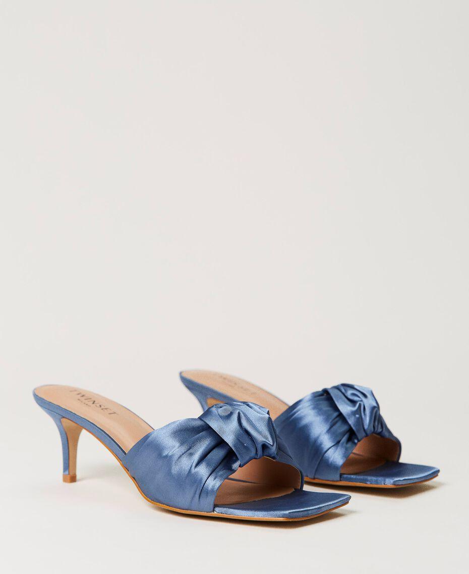 Satin sandals with knot Denim Woman 211TCT114-02