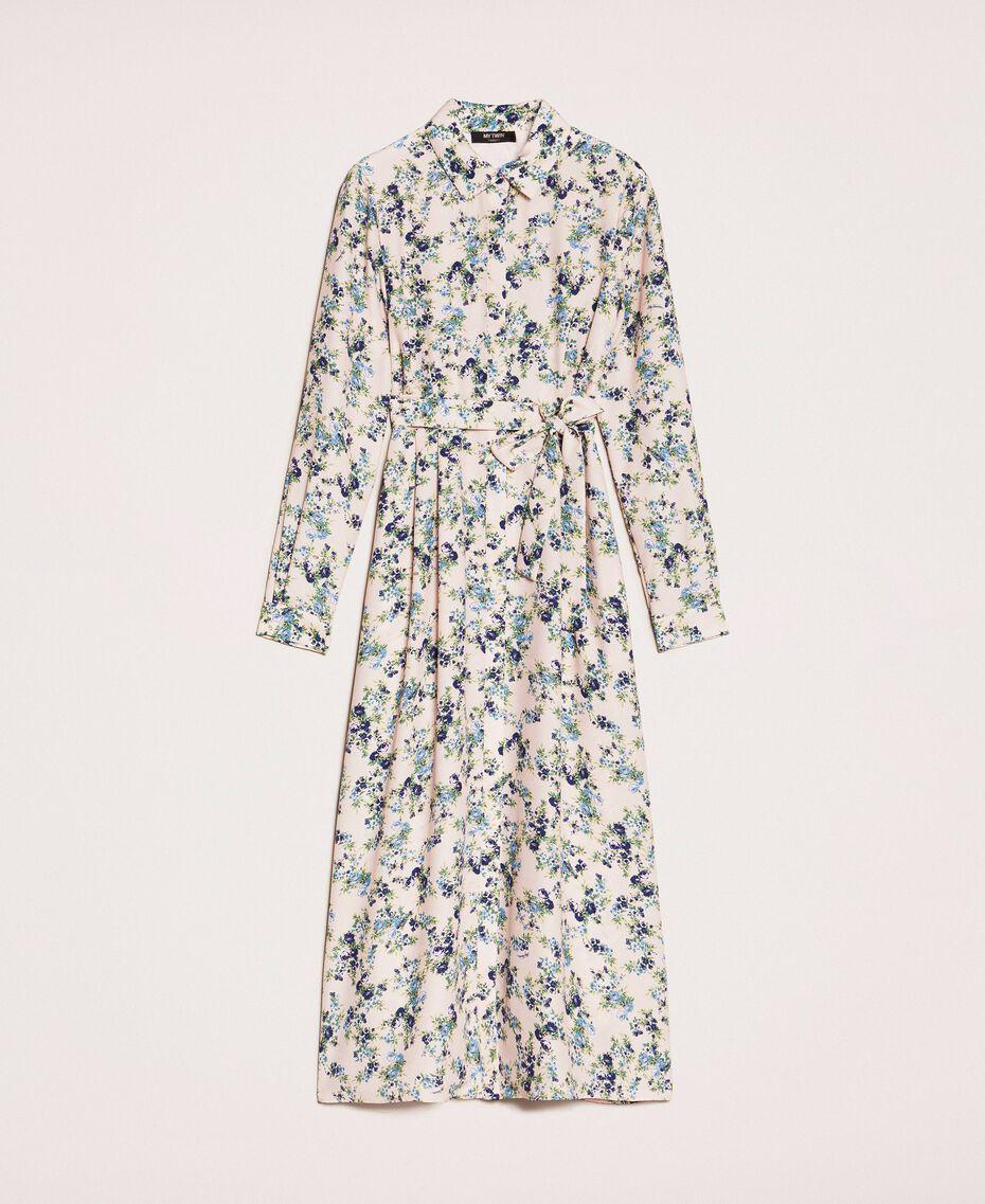 "Long floral shirt dress ""Quartz"" Pink Flowered Print Woman 201MP2371-0S"