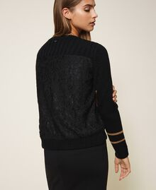 Striped jumper with lace Two-tone Black / Brown Sugar Woman 202ST3051-03