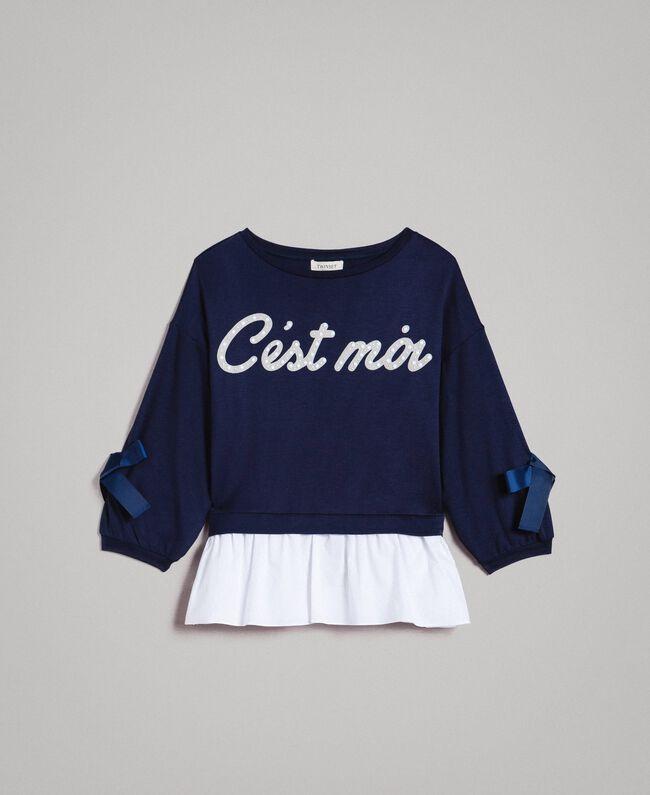 Milan stitch and poplin sweatshirt Two-tone Indigo / Optical White Child 191GJ2212-01
