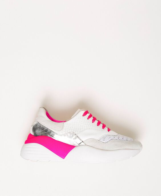 Running shoes with fluorescent finishes