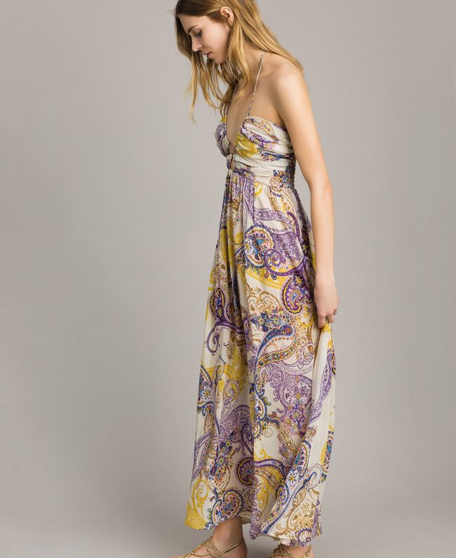 """Long dress with paisley pattern """"Milkyway"""" Beige / Paisley Print Woman 191LM2SLL-03"""