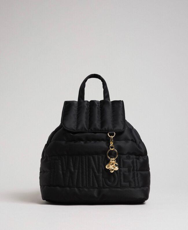 Sac à dos matelassé avec charms et logo Noir Femme 192TO8062-04