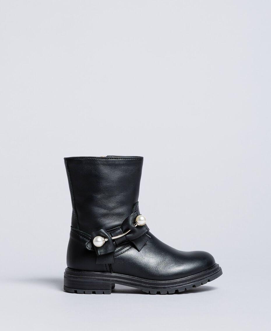 Boots aus Leder Schwarz Kind HA86AC-01