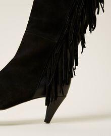 Bottes montantes en cuir avec franges Noir Femme 212TCP10C-04
