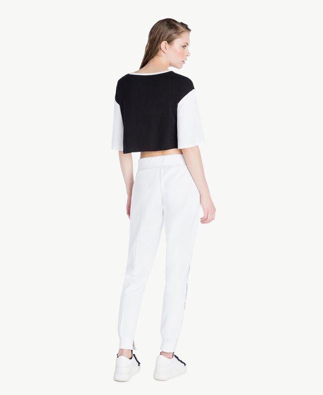 T-shirt court Bicolore Noir / Blanc Optique Femme LS87QQ-04