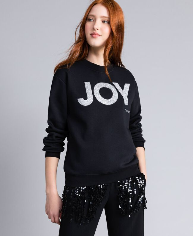 Sweatshirt aus Baumwolle mit Glitter-Print Schwarz Frau QA8TMA-01