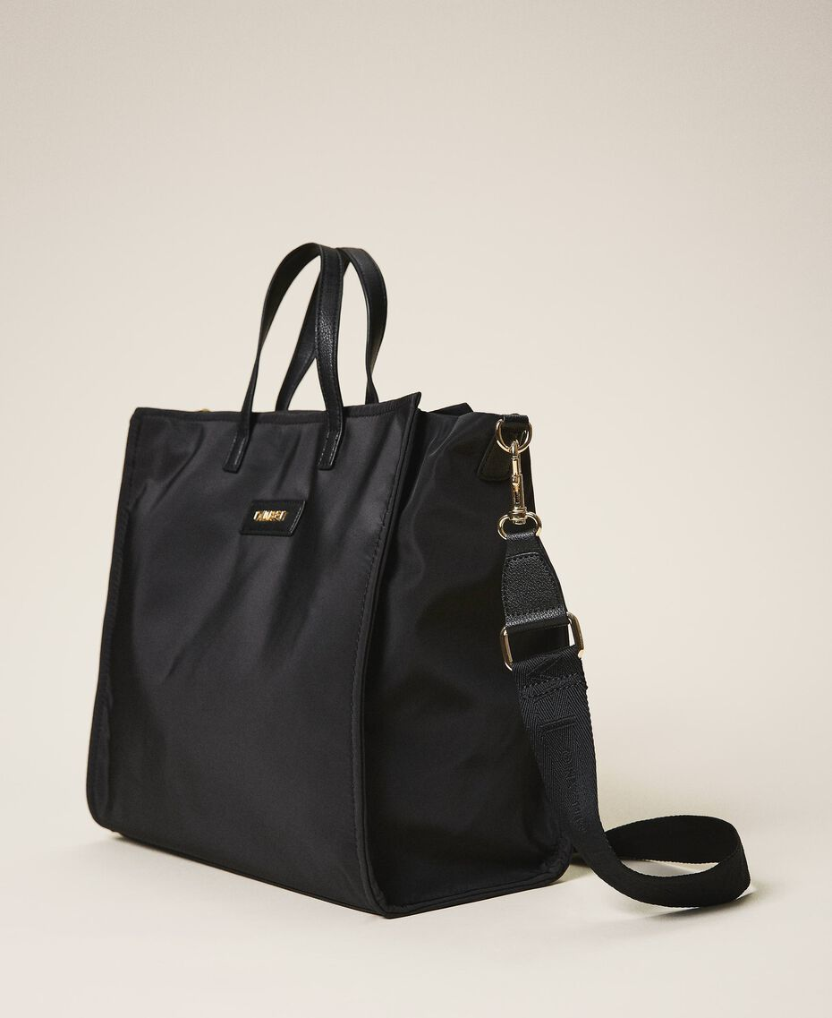 Satin Twinset Bag shopper with shoulder strap Black Woman 202TB7200-02