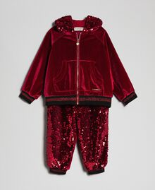 Velvet sweatshirt and sequin trousers Ruby Wine Red Child 192GB2092-01