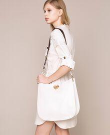 Hobo-Bag aus Leder mit Herz Weiß Schnee Frau 201TA7050-0S