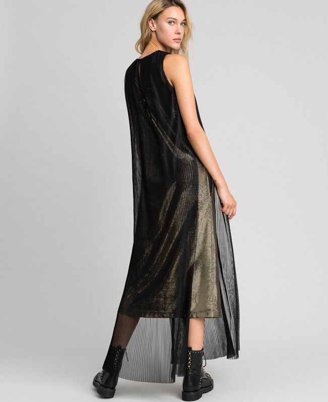 Metal effect long dress with tulle Black Gold Woman 192MT2192-04