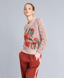 Pull jacquard floral et pois Jacquard Fleurs Rose Pâle Femme TA83CC-01